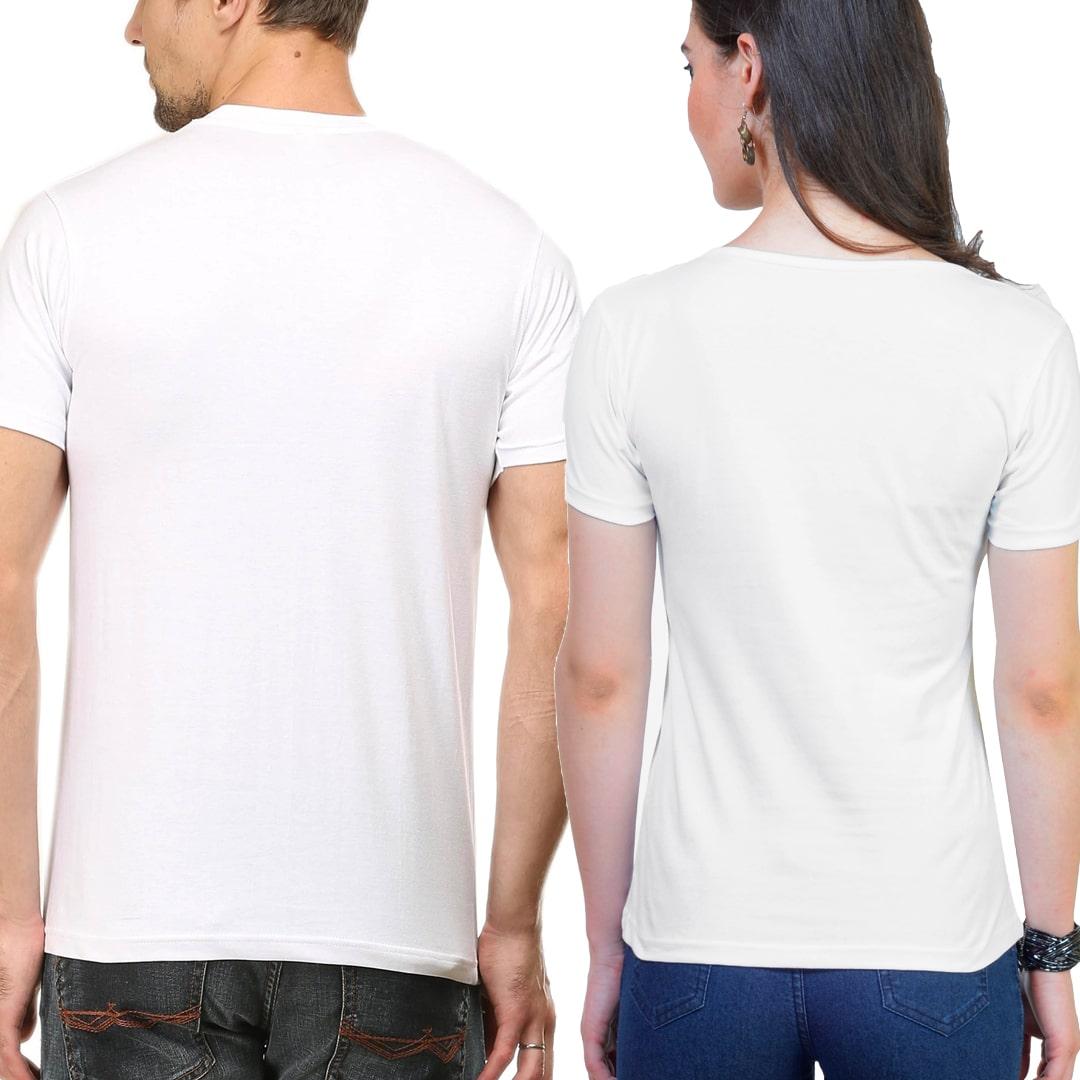 Plain Couple T Shirts Model Mockup White Back Min