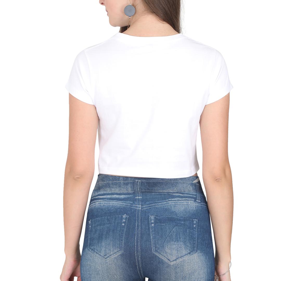 Women Crop Top White Back
