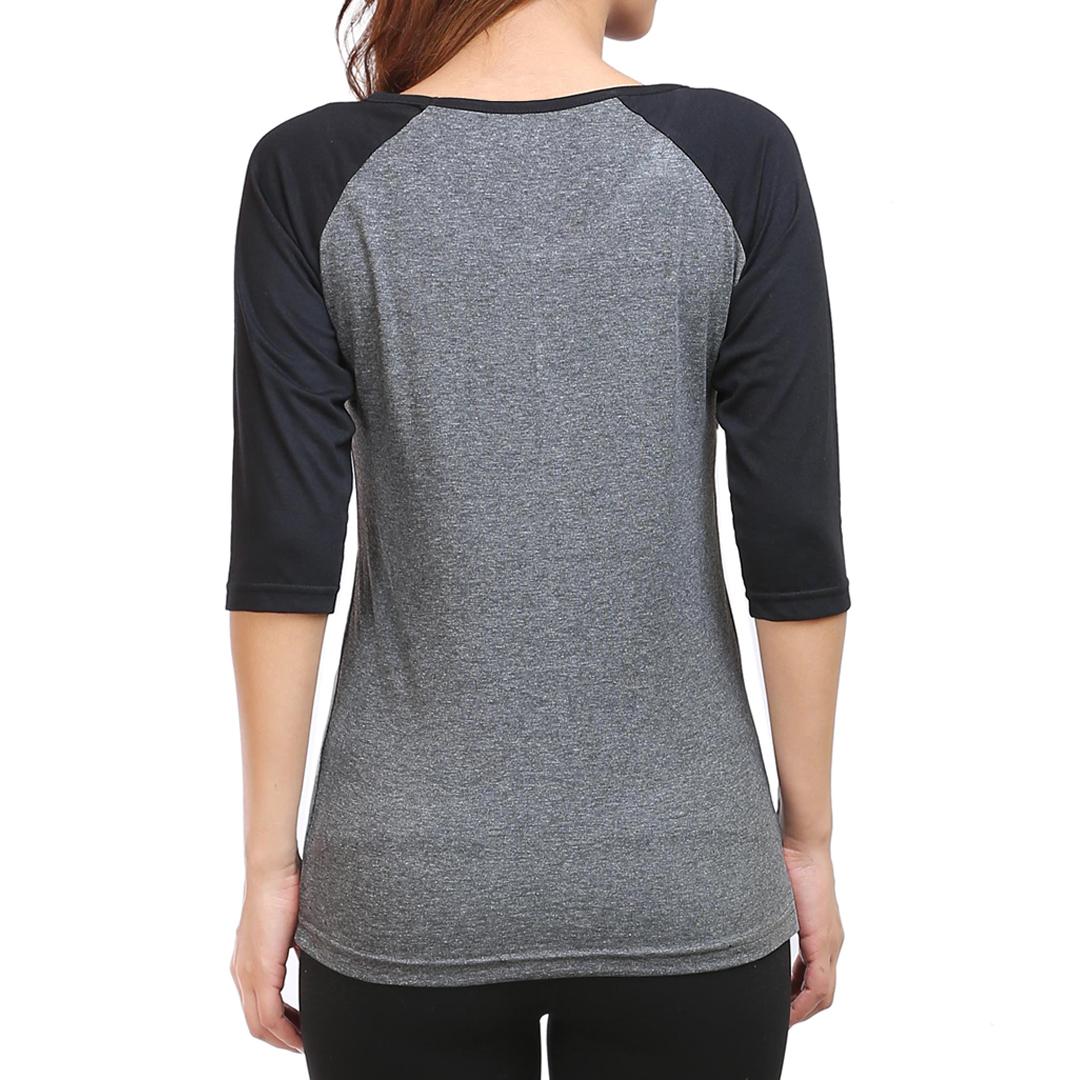 Women Raglan Elbow Sleeve T Shirt Black Charcoal Back