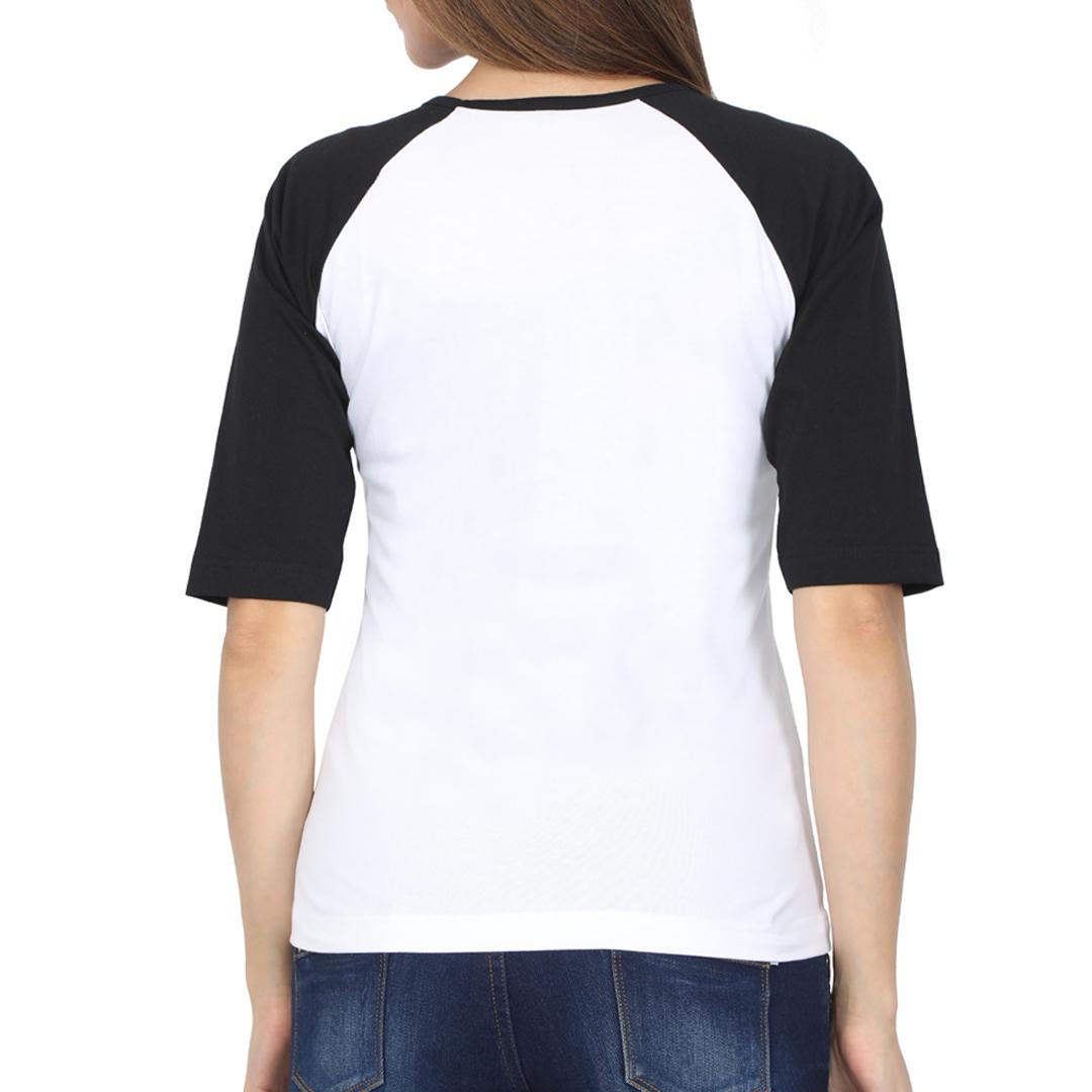 Women Raglan Elbow Sleeve T Shirt Black White Back