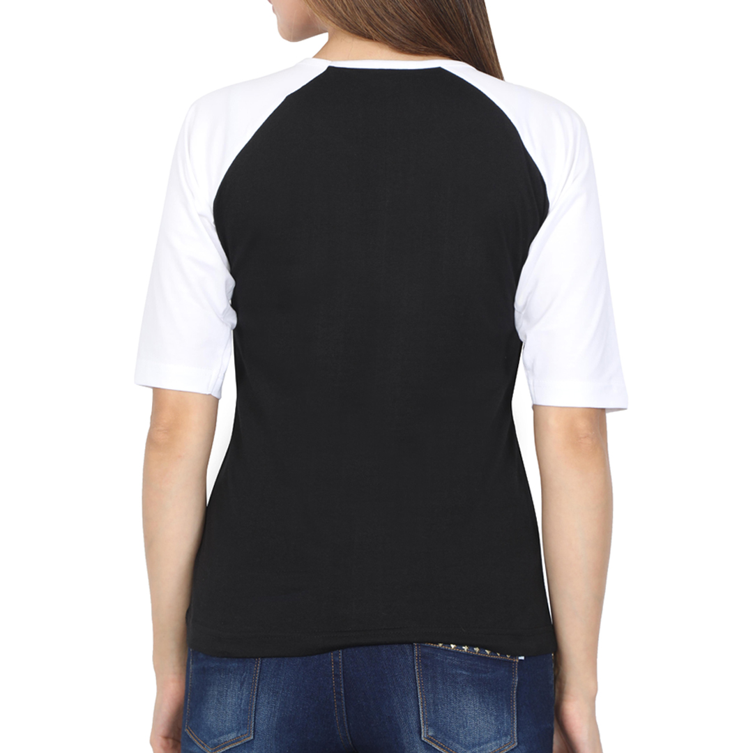 Women Raglan Elbow Sleeve T Shirt White Black Back