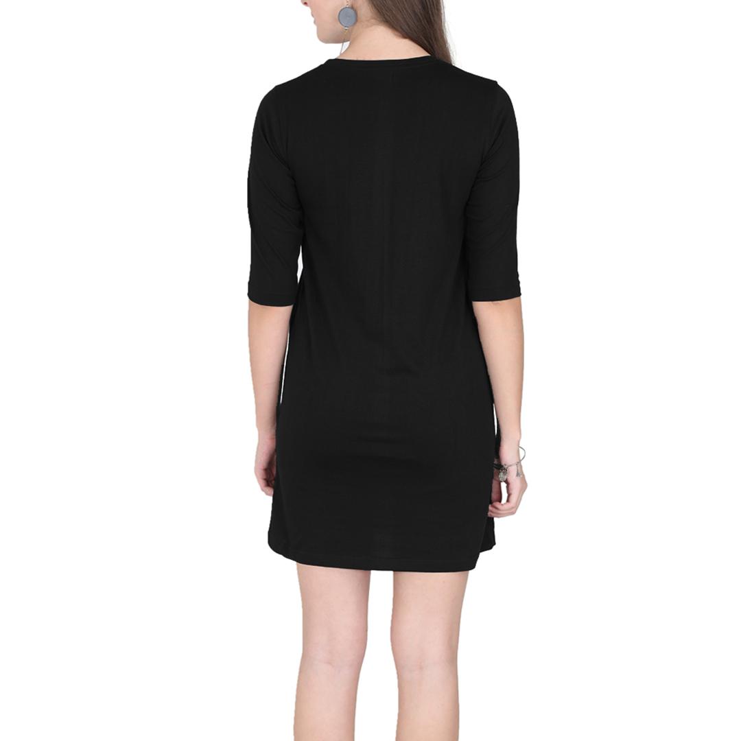 Women T Shirt Dress Black Back