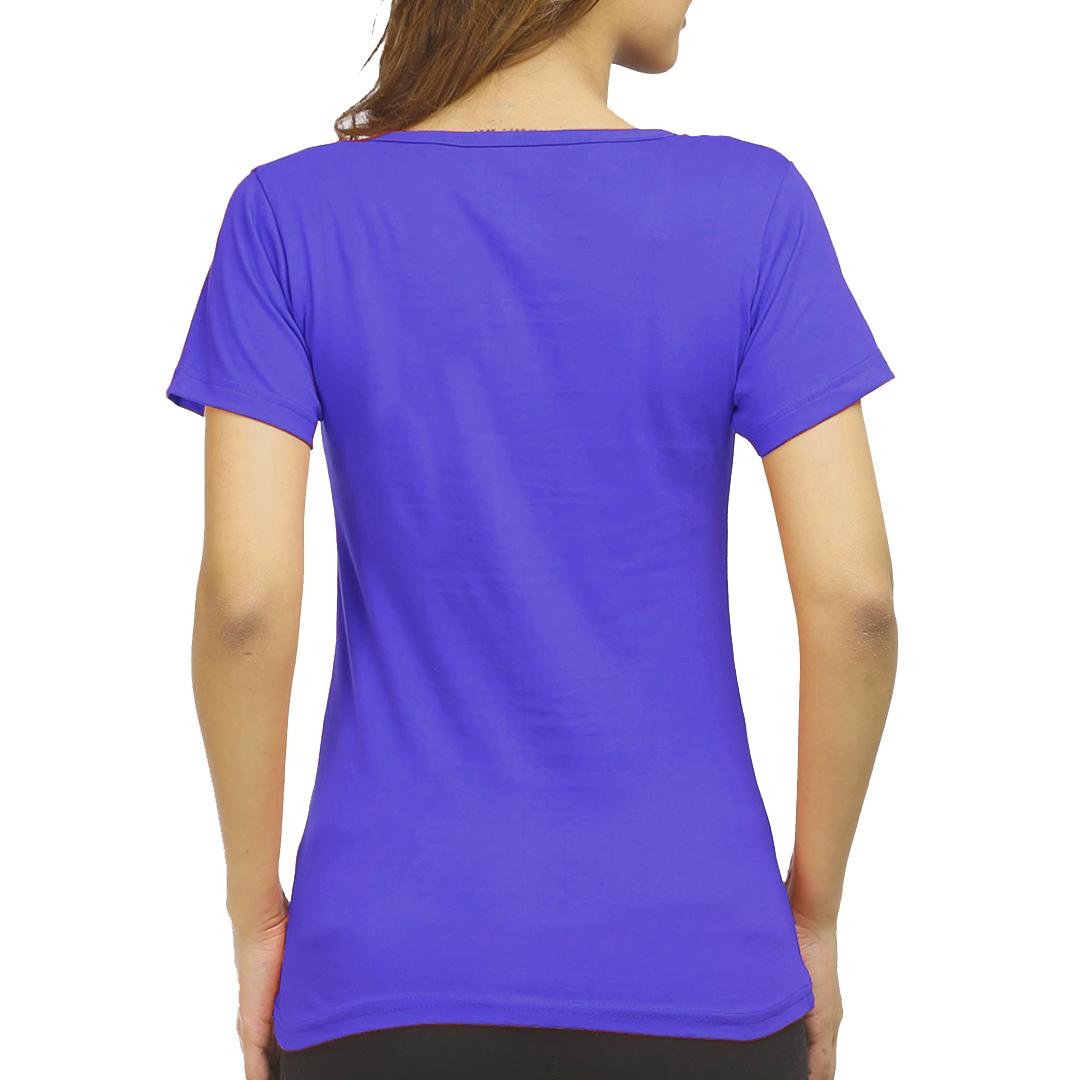 Women T Shirt Royal Blue Back