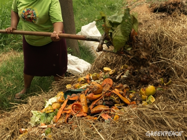 food waste into compost