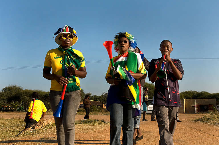 Football Fans in South African Village. © Andy Royal