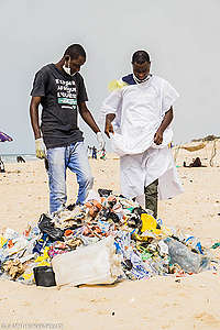 Plastic Clean Up and Brand Audit Activity in Africa. © Greenpeace