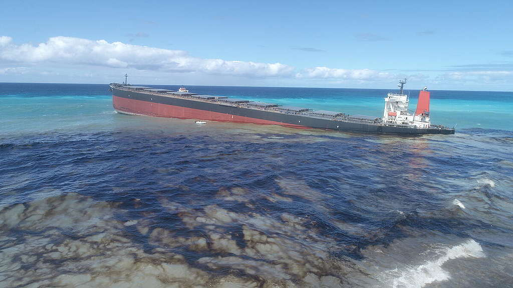 Mauritius Indian Ocean oil spill. Copyright unknown