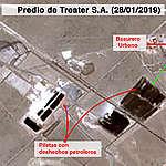 Imagen satelital expone el basural que se incendió en Vaca Muerta