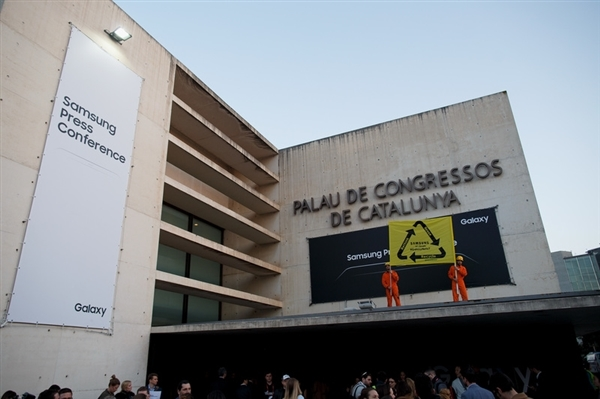 Action de Greenpeace lors du Mobile World Congress