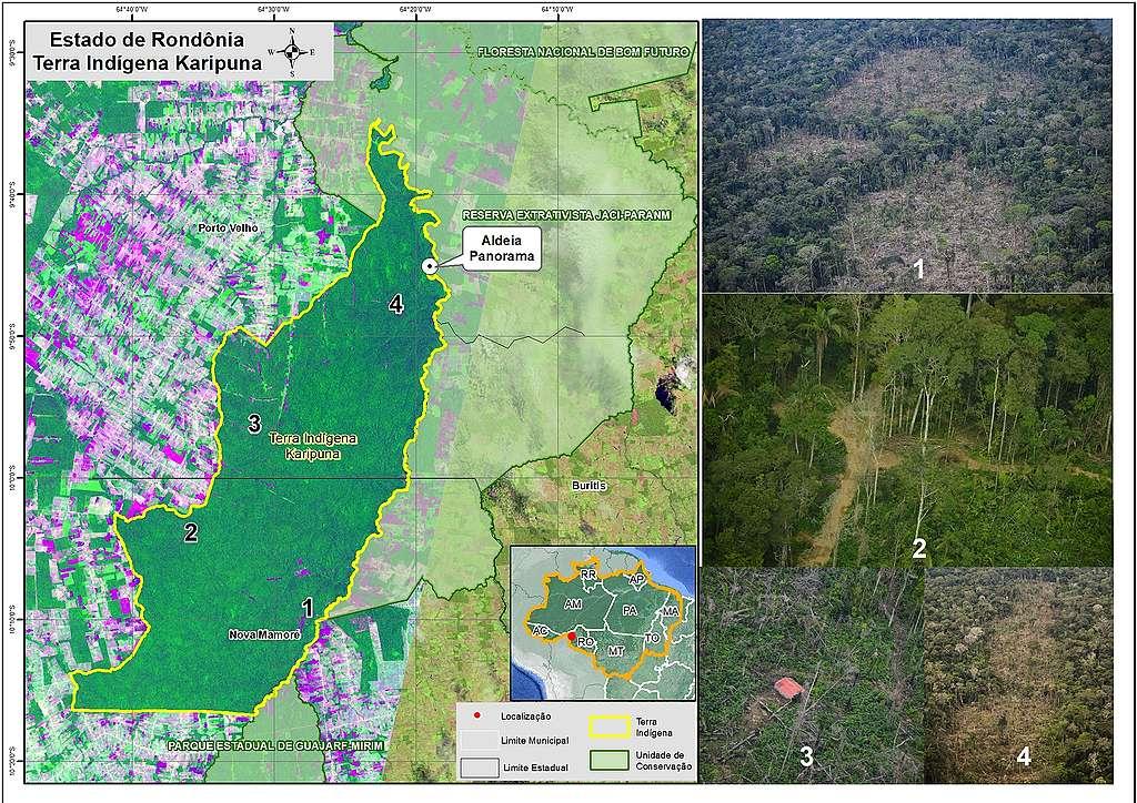 Fotos georeferenciadas evidenciam áreas invadidas por madeireiros dentro da Terra Indígena Karipuna