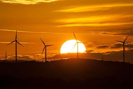 Geração de energia eólica na Alemanha.