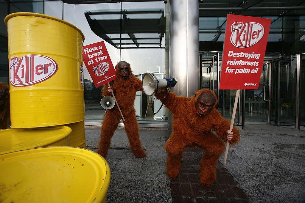 Ativistas vestidos de orangotango protestam na fábrica da Nestlé, em Londres.