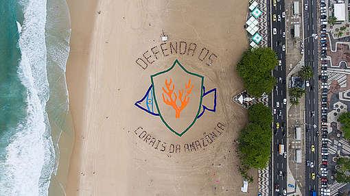 Defend the Amazon Reef Human Banner in Brazil. © Fernanda Ligabue