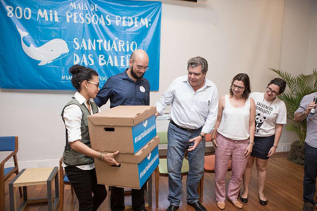 Entrega de 800 mil assinaturas ao ministro do meio ambiente © Eduardo Zappia