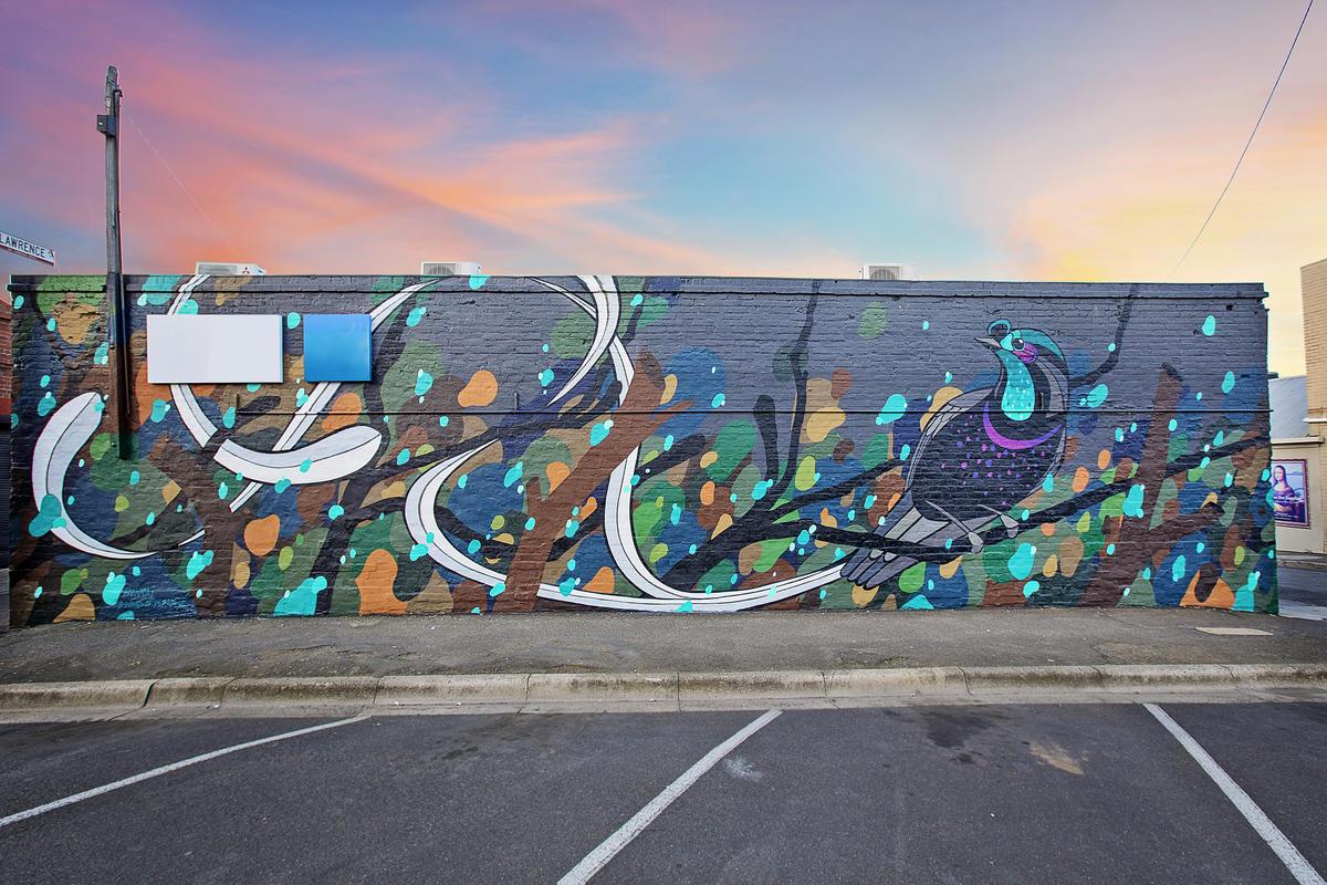 Mural com ave colorida com pôr-do-sol ao fundo, na Austrália.