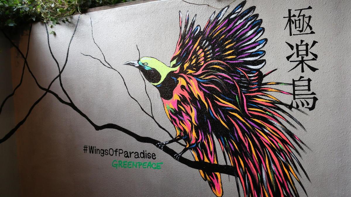Ave colorida repousa em um galho no mural pintado em Tóquio, no Japão.