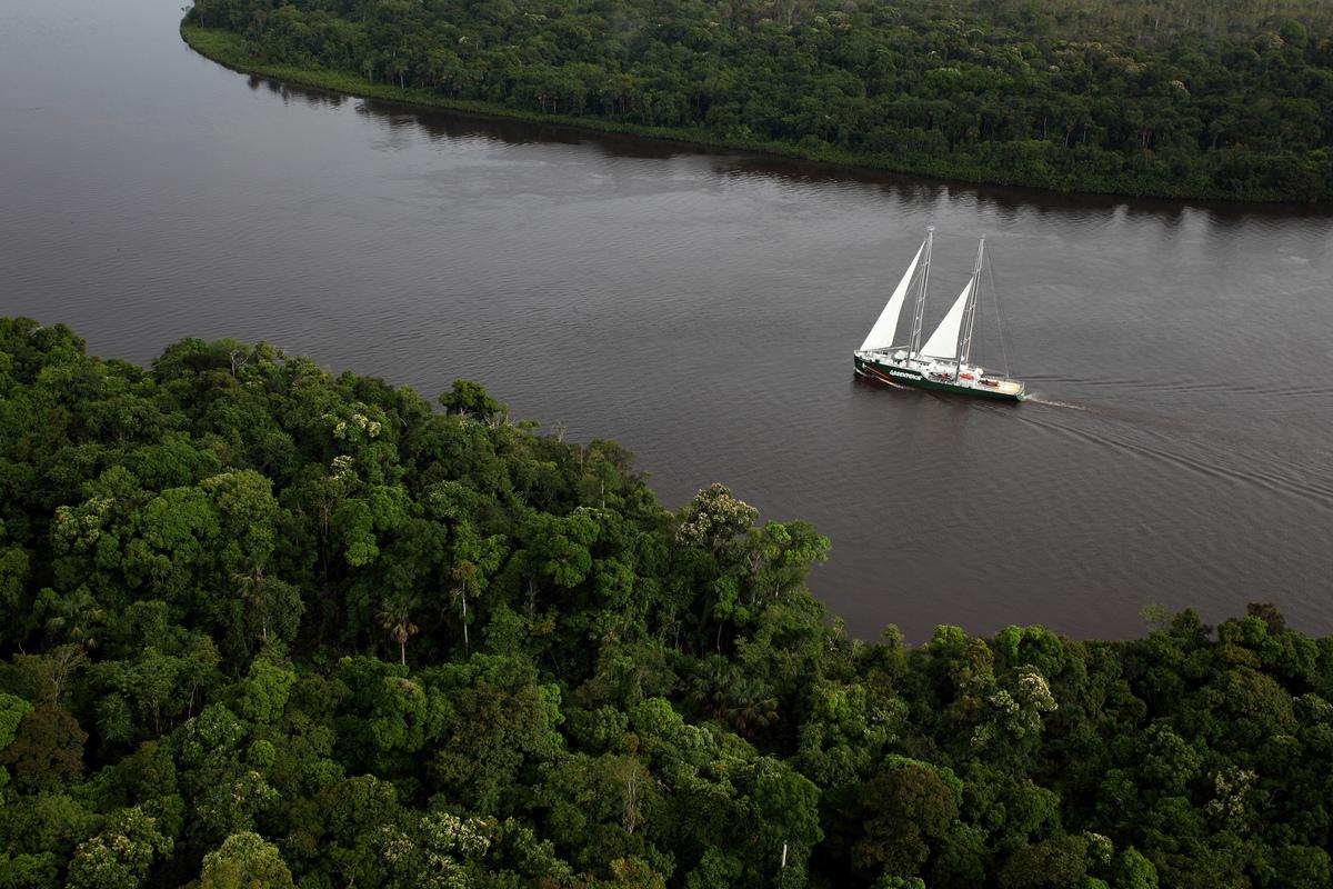 O navio Rainbow Warrior navega pelo Rio Amazonas pela primeira vez no Brasil, em março de 2012