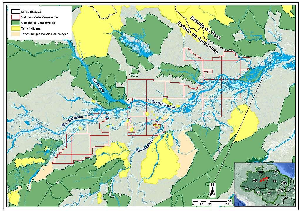 Mapa dos blocos de petróleo na região do Amazonas