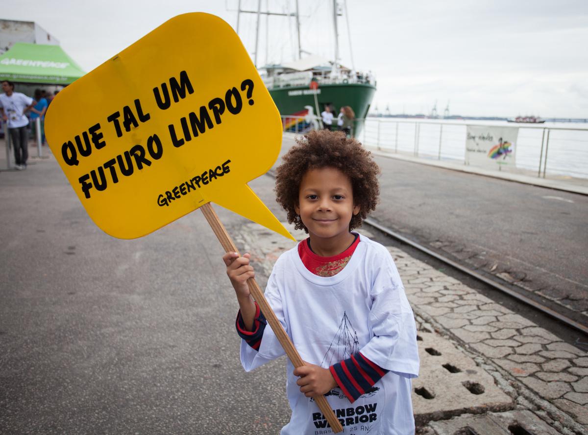 Open Boat on Rainbow Warrior in Rio de Janeiro. © Barbara Veiga