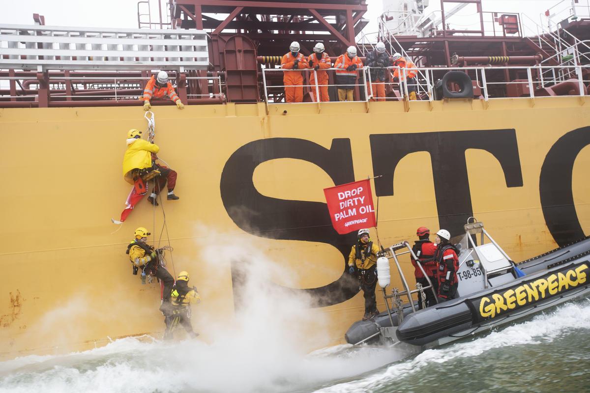 Escaladores colocam banner em navio em protesto contra sua carga de óleo de palma. © Marten van Dijl