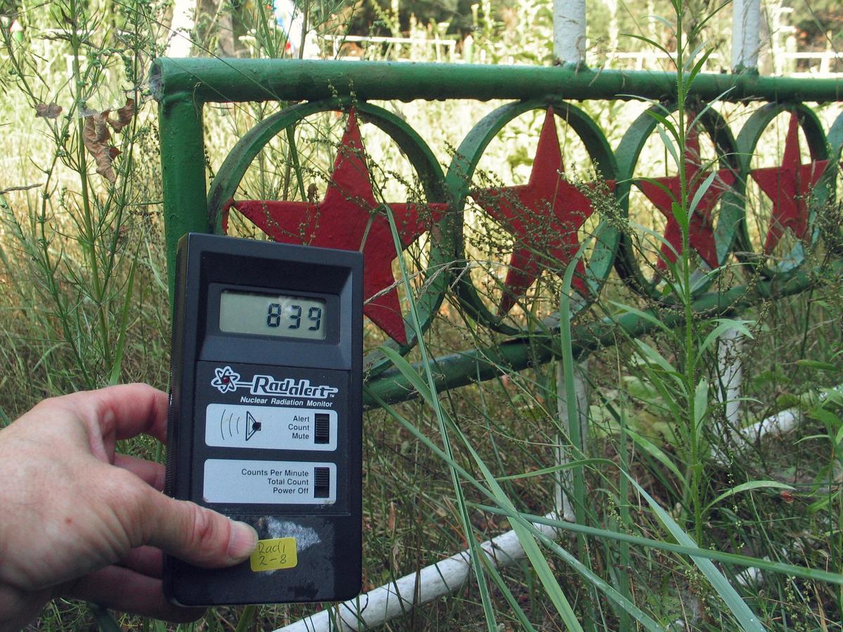 Após 20 anos do desastre de Chernobyl, os níveis de radiação na chamada Floresta Vermelha, em Pripyat, continuavam muito altos, acima de 800 microroentgens por hora. A mata recebeu esse nome por suas árvores terem adquirido um tom castanho avermelhado depois de morrerem devido à alta absorção de radiação. © Vaclav Vasku / Greenpeace