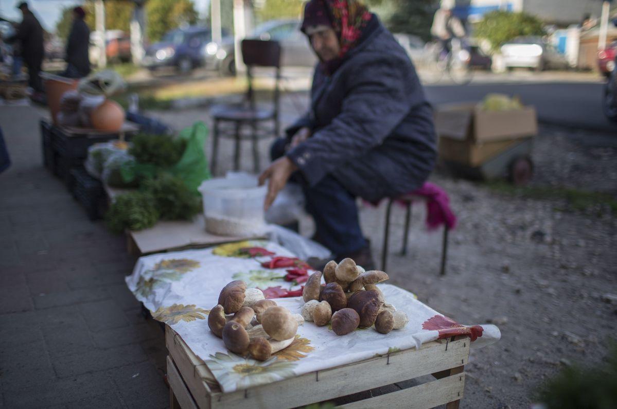 Moradores de Novozybkov, na Rússia, vendendo produtos locais. © Denis Sinyakov / Greenpeace