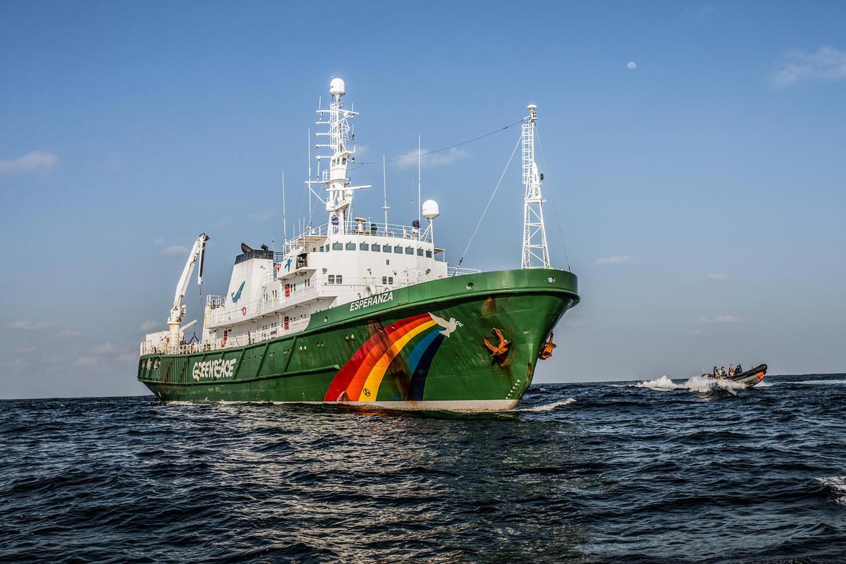 Navio Esperanza, verde com desenho da pomba da paz e cores do arco-íris, sobre o oceano azul, céu azul ao fundo