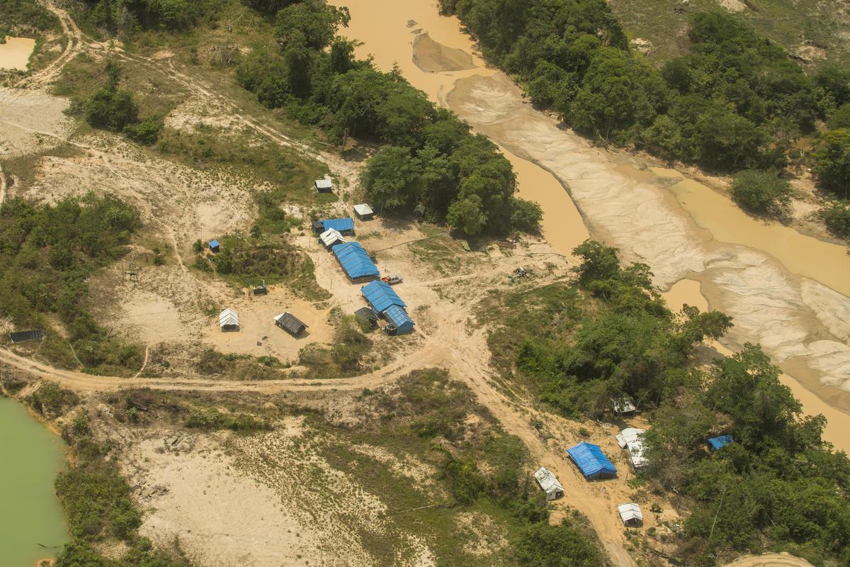 acampamento montado ao longo do rio na Terra Indígena Munduruku