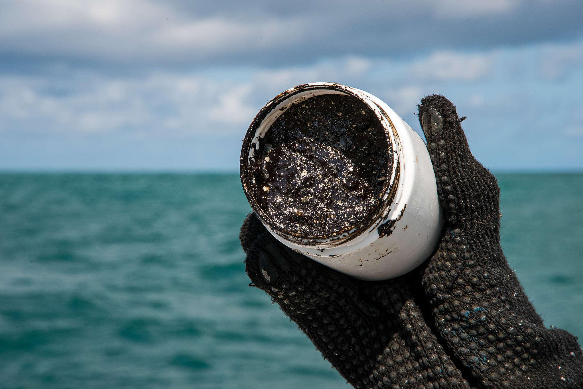 Óleo coletado nos recifes de coral da Praia do Cupe, litoral sul de Pernambuco. © Fernanda Ligabue / Greenpeace