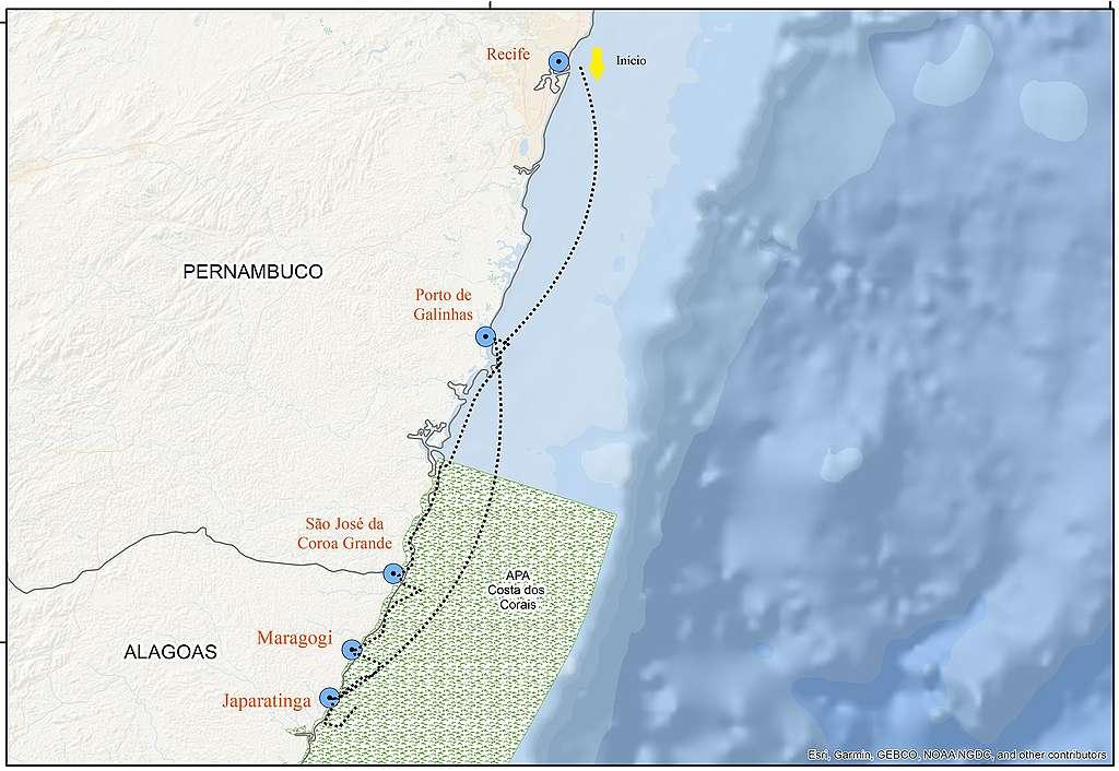 Mapa da costa de pernambuco com os pontos de mergulho realizados