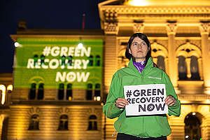 #GreenRecoveryNow! Demonstration in Switzerland. © Greenpeace / Ex-Press / Severin Nowacki