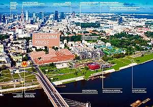 Изглед на запад към зоната на Elektrownia Powisle и центъра на Варшава