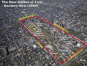 Изглед към зоната за нов градски център на Лодз, включително EC1