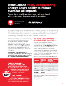 TransCanada vastly exaggerating Energy East's ability to reduce overseas oil imports