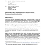 Canadian Securities Administrators' risk disclosure review: Greenpeace Canada's submission