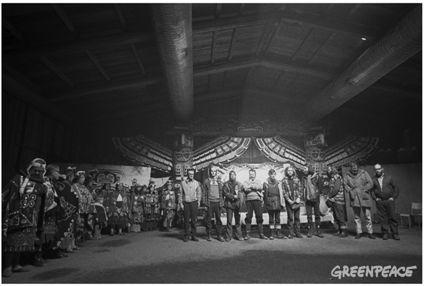 Greenpeace Amchitka Crew (without regalia) and members of Kwakwaka'wakw communities - Robert Keziere photo