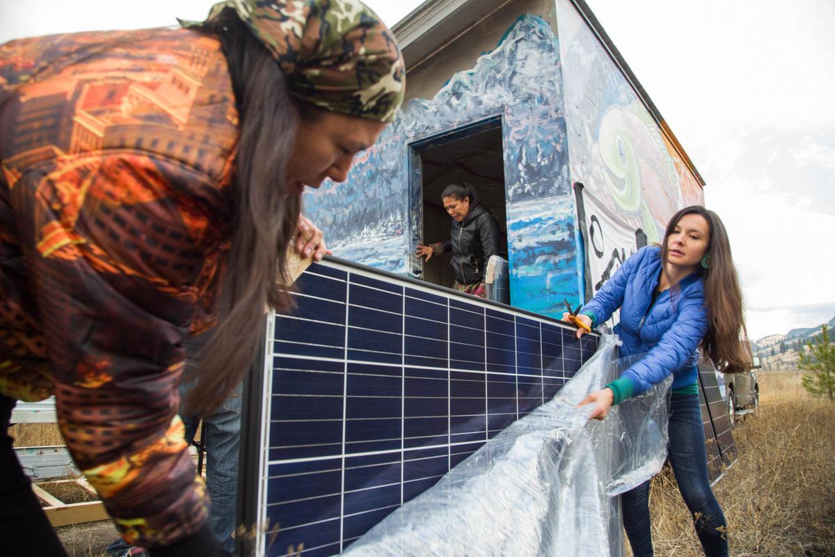 Tiny House Warriors in Canada Install Solar Panels