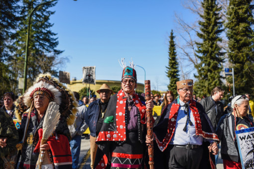 Chief Na'Moks in March in Metro Vancouver