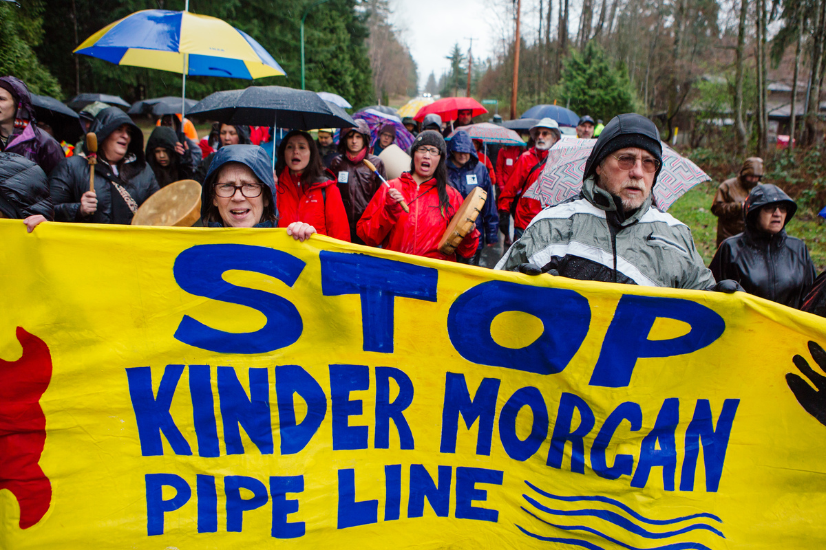 Land Defenders Protest at Kinder Morgan Tank Farm in British Columbia