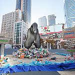 PRESS RELEASE: Greenpeace unveils branded plastic trash installation at Yonge-Dundas Square