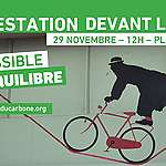"""PRESS RELEASE: The Sortons la Caisse du carbone coalition uses circus arts at CDPQ to underline """"the impossible balance"""" between fossil fuels and climate emergency"""