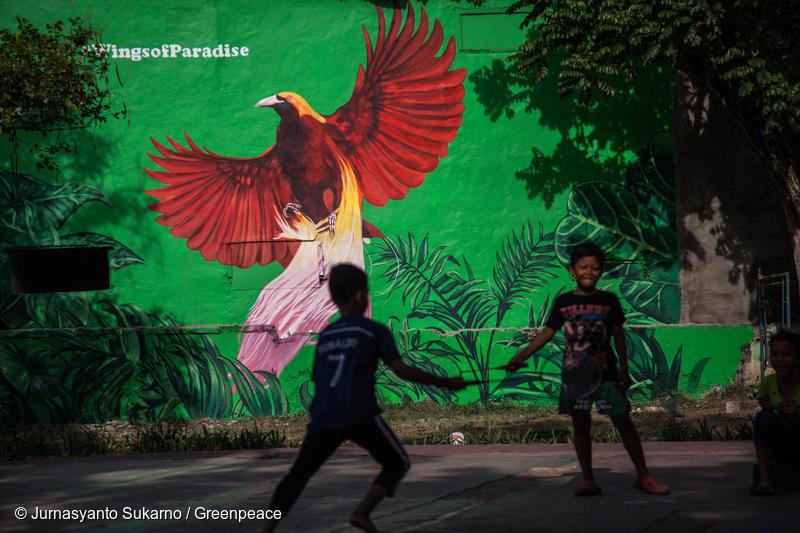 Peinture murale Wings of Paradise à Jakarta