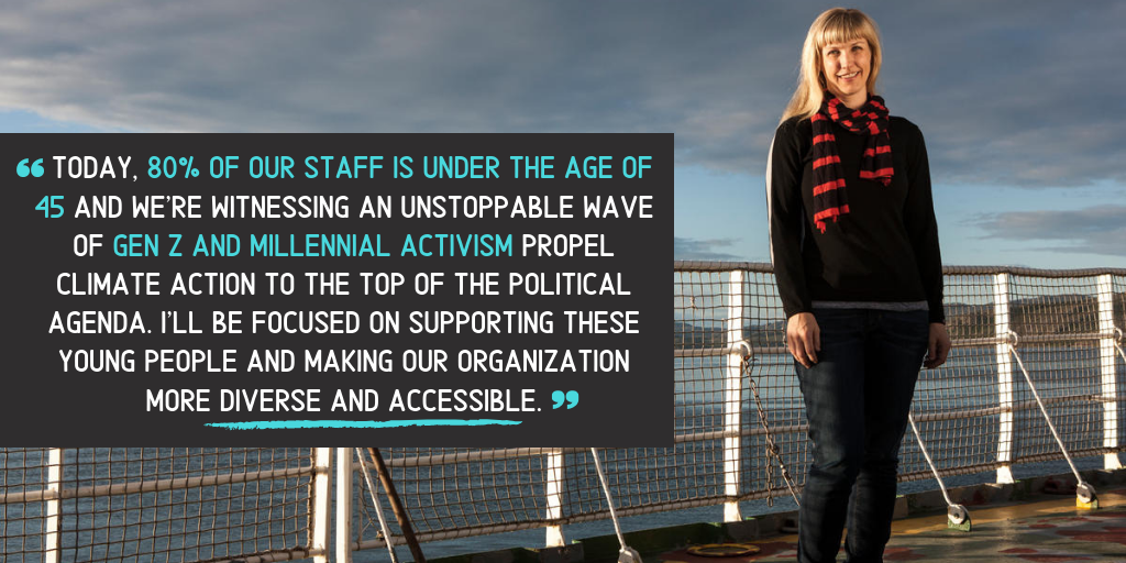 """""""Greenpeace became iconic in the 1970s for the courageous actions of a group of young people determined to create a future free from violence, where nature and humanity can thrive,"""" said Christy Ferguson. """"Today, eighty percent of our staff is under the age of 45 and we're witnessing an unstoppable wave of Gen Z and Millennial activism propel climate action to the top of the political agenda. I'll be focused on supporting these young people and making our organization more diverse and accessible. Together, we can counter divisive populist politics by leading with empathy to solve our common challenges."""""""