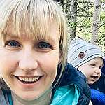 Christy Ferguson and her son William out in nature