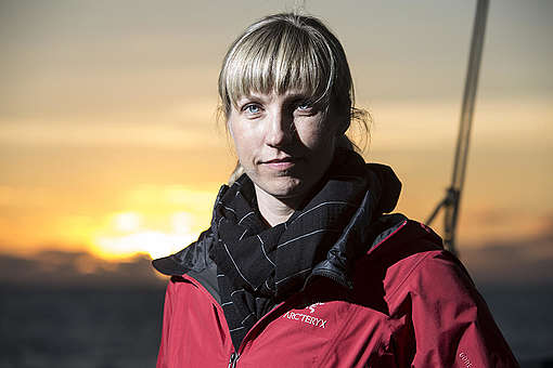 Christy Ferguson on Arctic Sunrise in Barents Sea. © Will Rose / Greenpeace