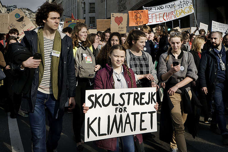 Greta Thunberg Leads Students on Seventh Climate March in Brussels. © Greenpeace / Eric De Mildt