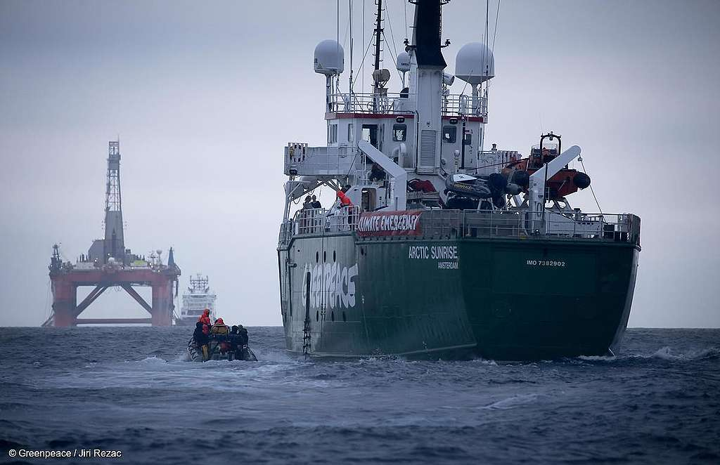 NORTH SEA MYAS 16 JUN 2019 – Greenpeace ship Arctic Sunrise follows the BP chartered Transocean 'The Paul B Loyd Jr' rig en route to the Vorlich field in the North Sea. © Greenpeace / Jiri Rezac