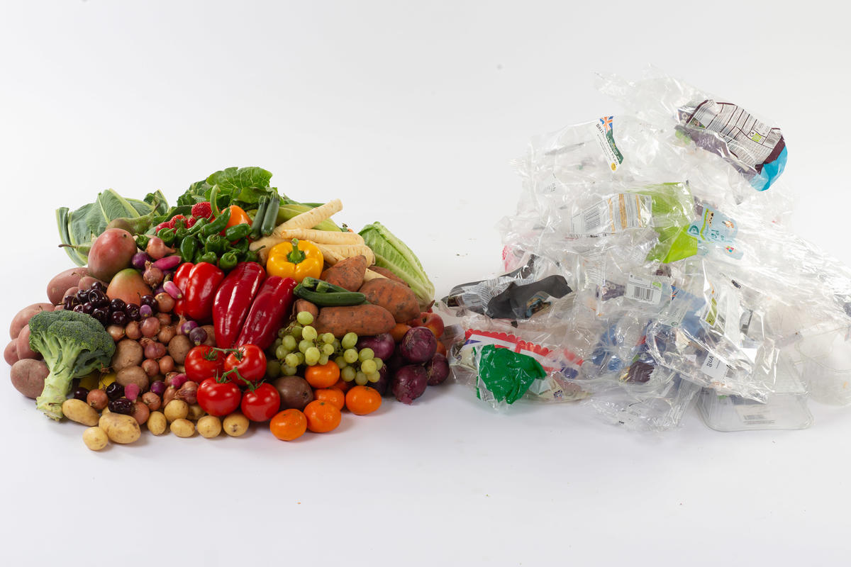 Fruit and Vegetables Plastic Packaging. © Steve Morgan / Greenpeace