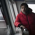 Actor Javier Bardem onboard the Arctic Sunrise in the Antarctic. © Christian Åslund / Greenpeace