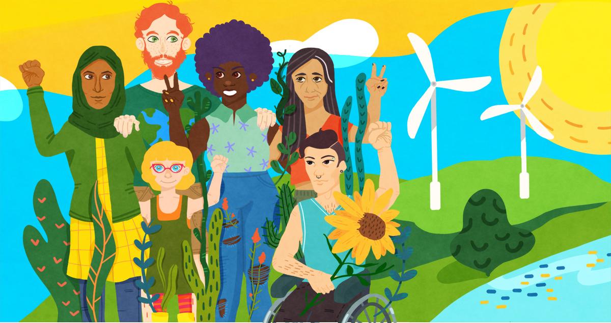 Citoyens et citoyennes qui se mobilisent pour l'action climatique